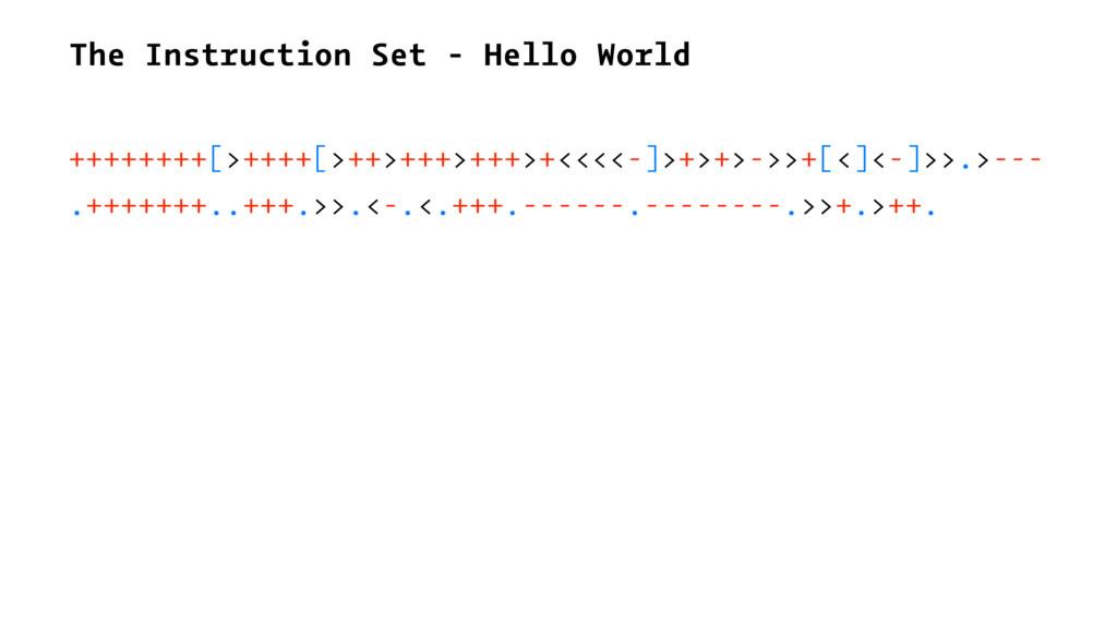 The Instruction Set - Hello World ++++++++[>+++...