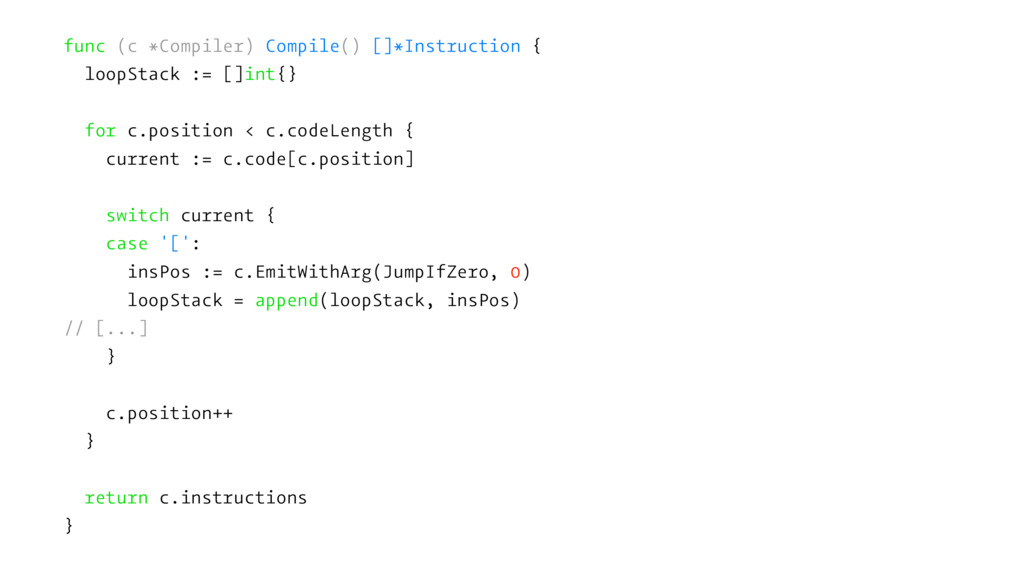 func (c *Compiler) Compile() []*Instruction { l...