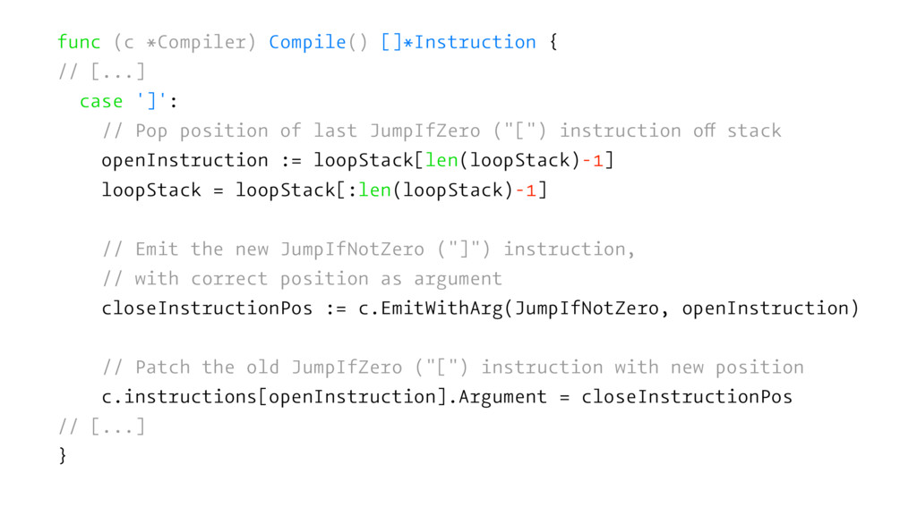 func (c *Compiler) Compile() []*Instruction { /...