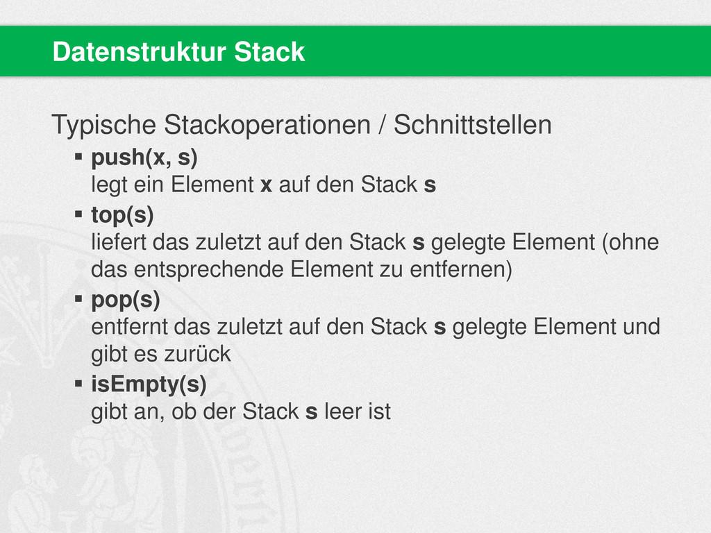Typische Stackoperationen / Schnittstellen  pu...