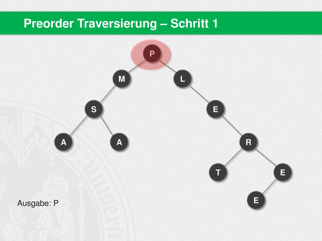 Preorder Traversierung – Schritt 1 P M S A A L ...