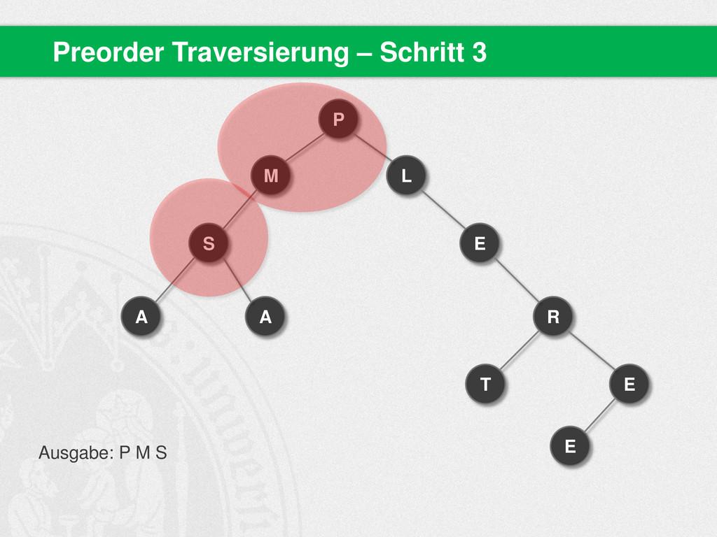 Preorder Traversierung – Schritt 3 P M S A A L ...