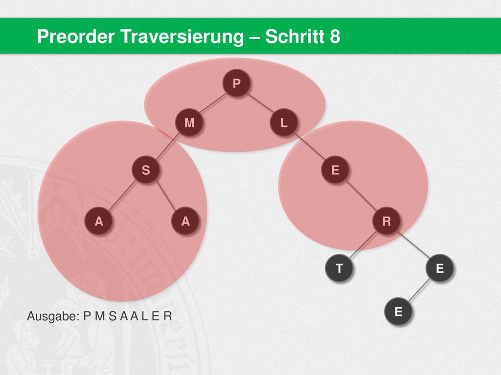 Preorder Traversierung – Schritt 8 P M S A A L ...