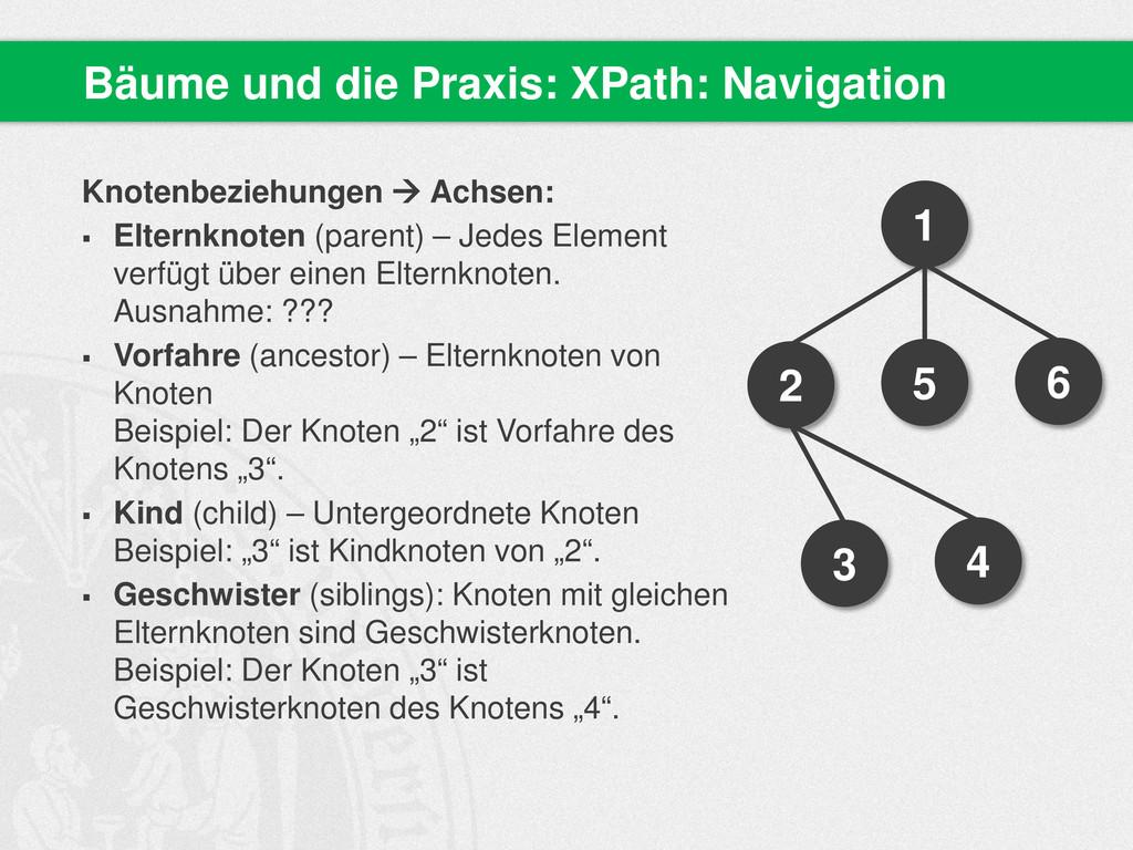 Knotenbeziehungen  Achsen:  Elternknoten (par...