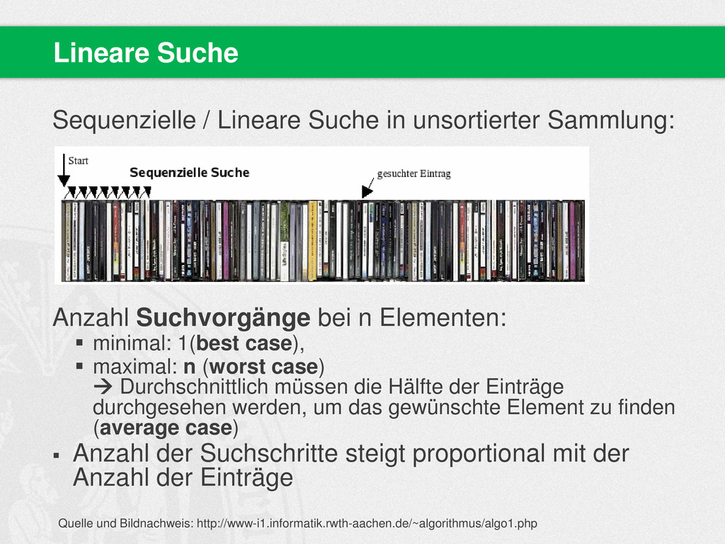 Sequenzielle / Lineare Suche in unsortierter Sa...