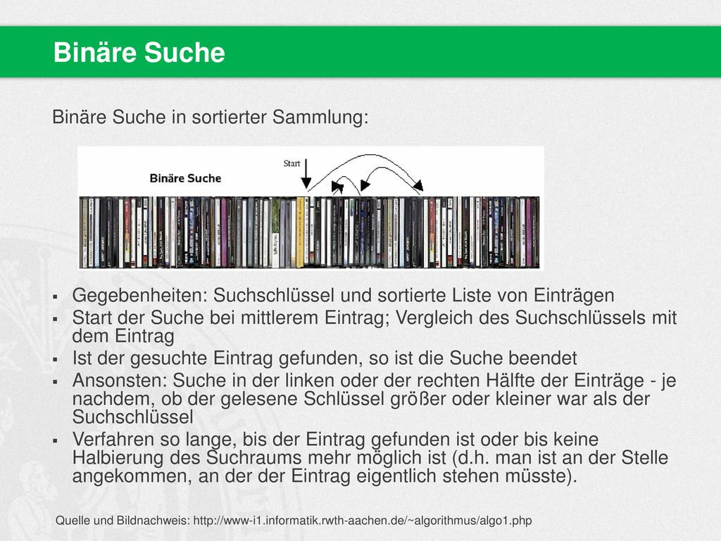 Binäre Suche in sortierter Sammlung:  Gegebenh...
