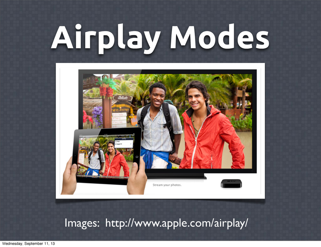 Airplay Modes Images: http://www.apple.com/airp...