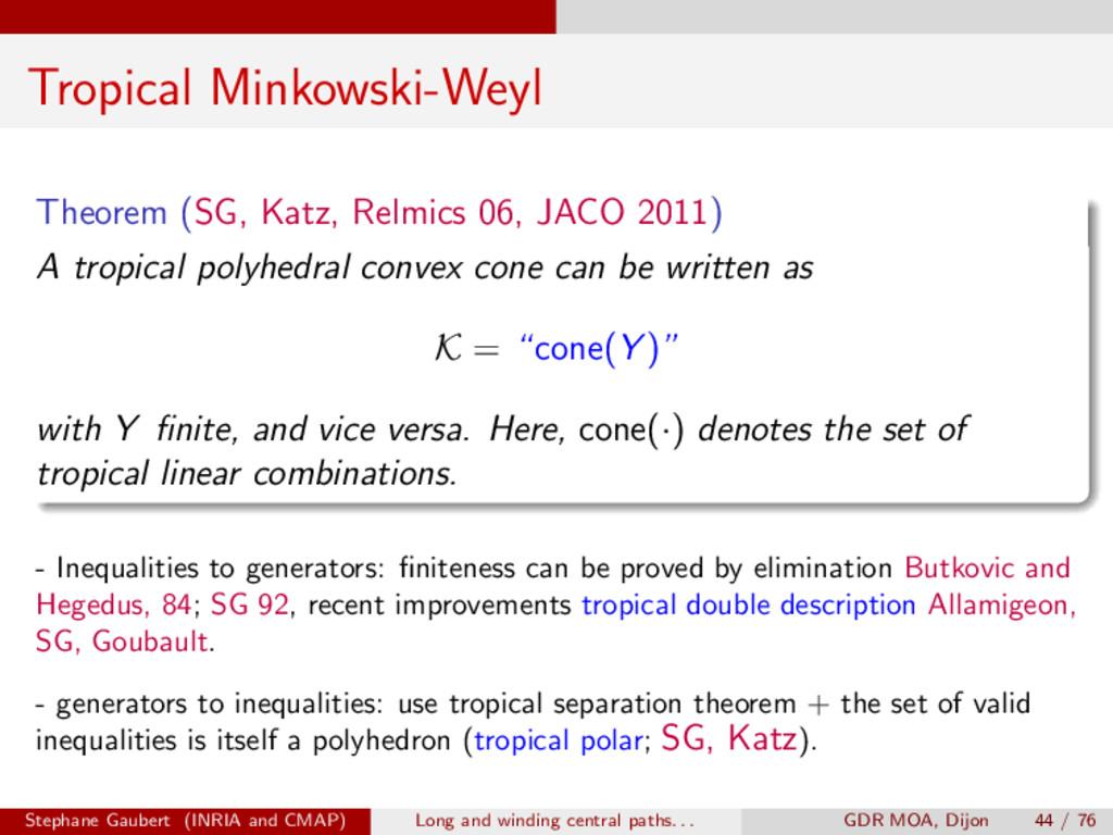 Tropical Minkowski-Weyl Theorem (SG, Katz, Relm...