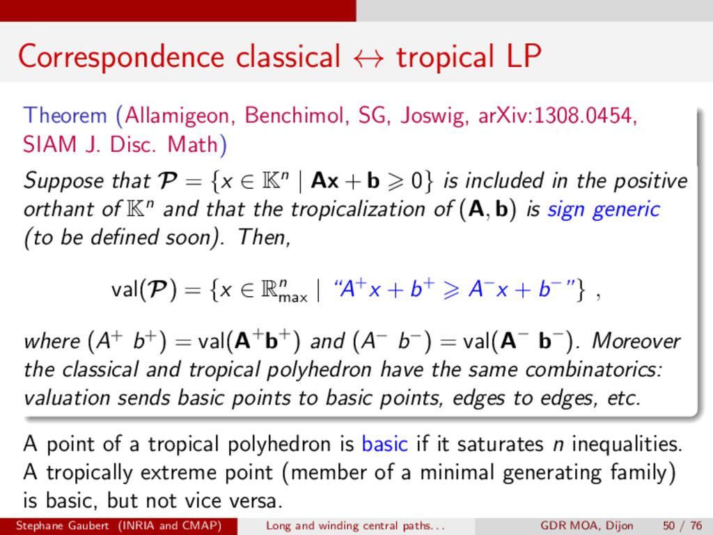 Correspondence classical $ tropical LP Theorem ...