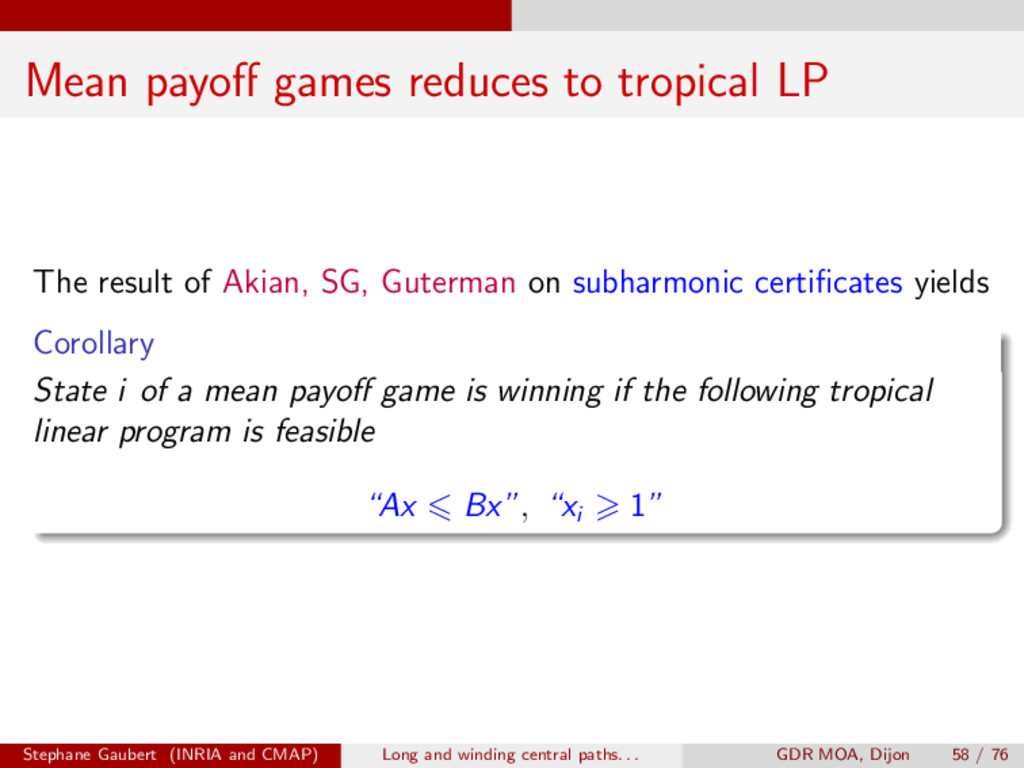 Mean payo↵ games reduces to tropical LP The res...