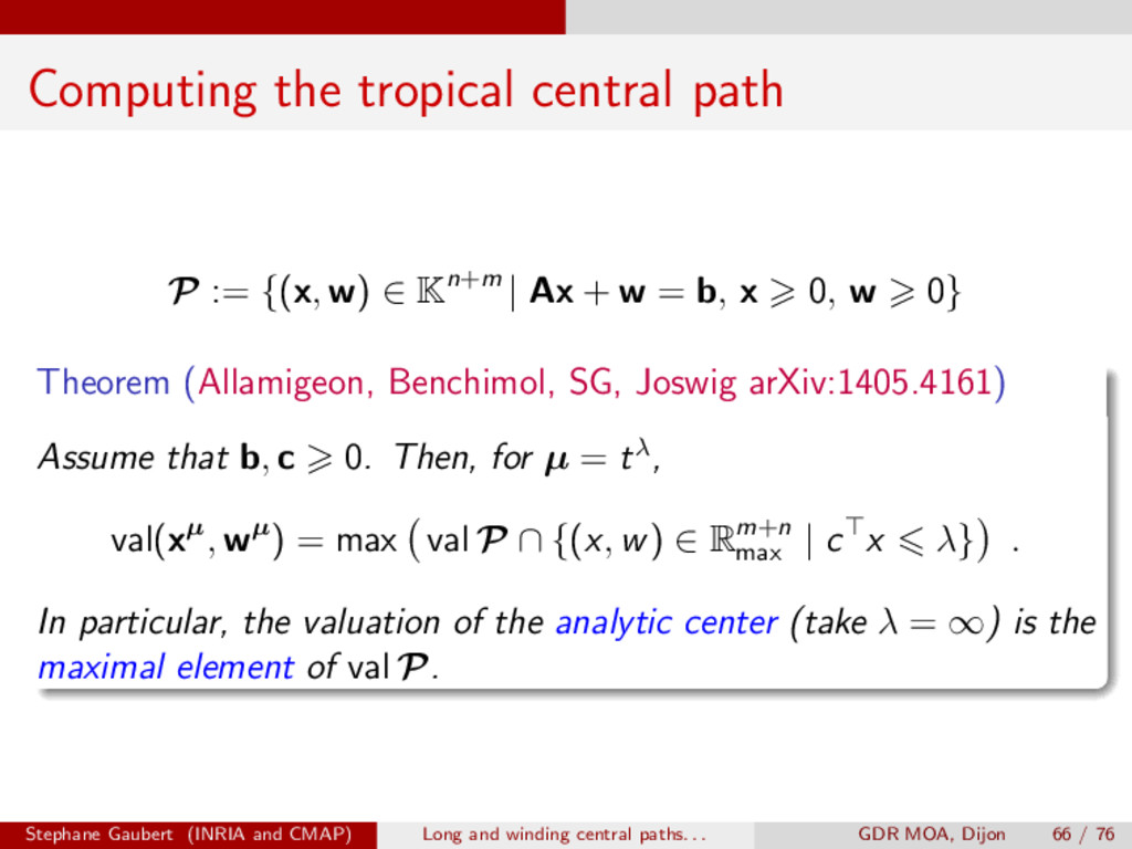 Computing the tropical central path P := {( x ,...