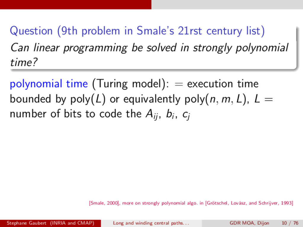 Question (9th problem in Smale's 21rst century ...