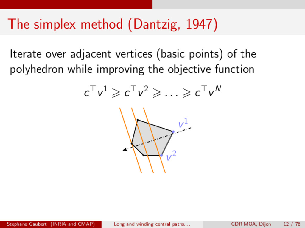 The simplex method (Dantzig, 1947) Iterate over...