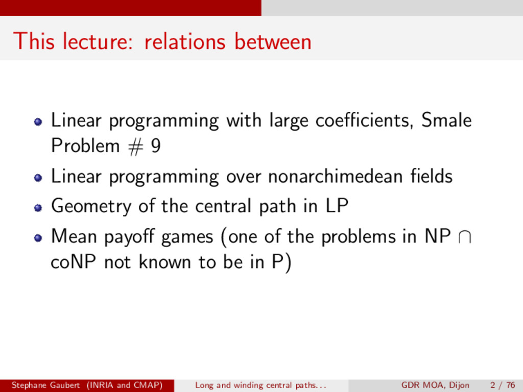 This lecture: relations between Linear programm...