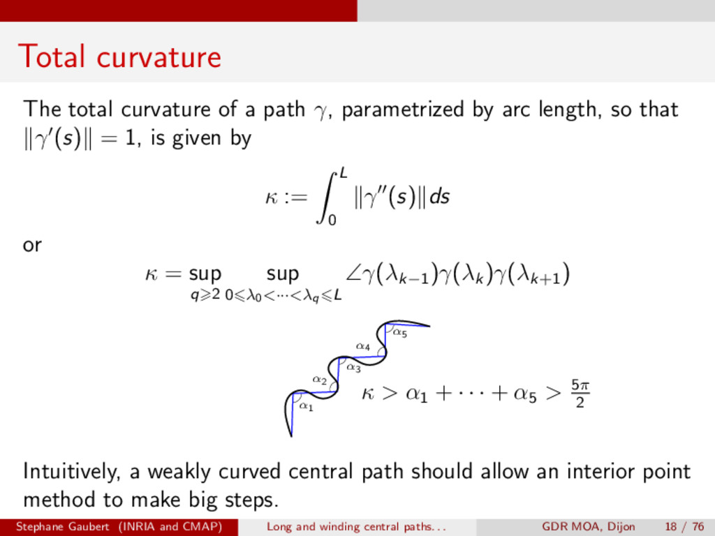 Total curvature The total curvature of a path ,...