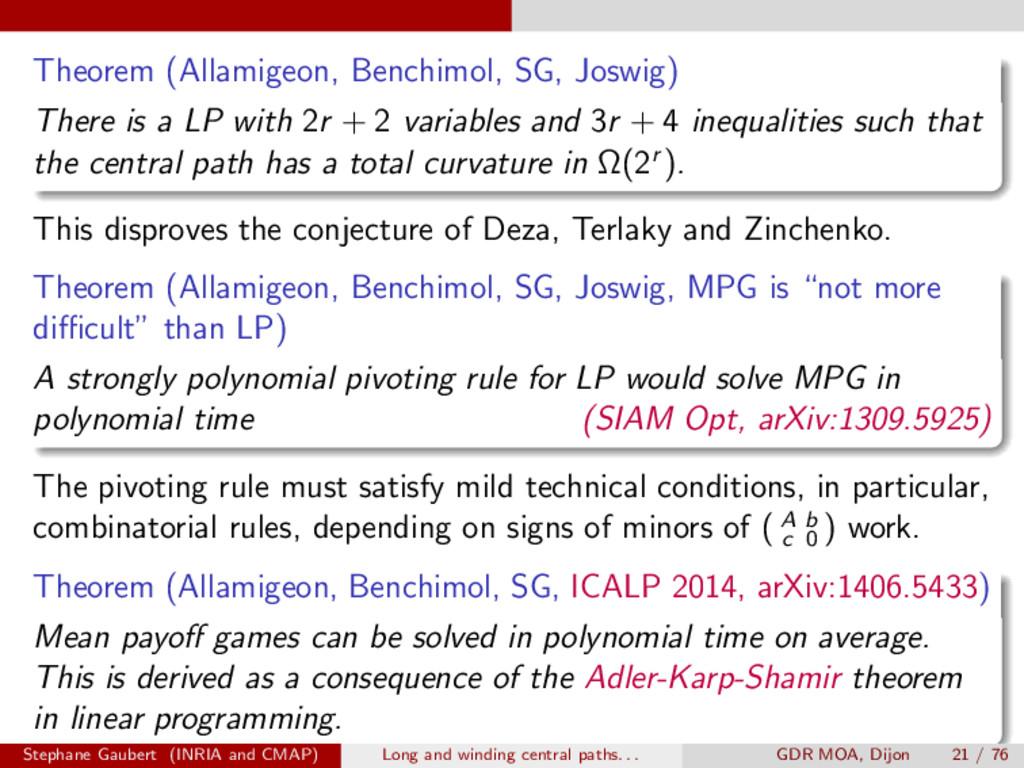 Theorem (Allamigeon, Benchimol, SG, Joswig) The...