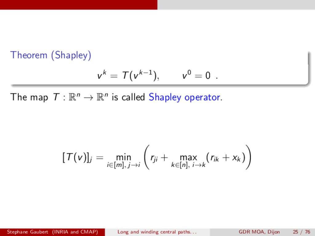 Theorem (Shapley) vk = T(vk 1), v0 = 0 . The ma...