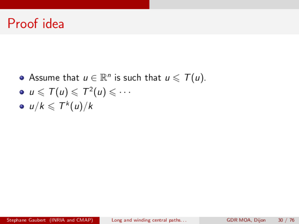 Proof idea Assume that u 2 Rn is such that u 6 ...