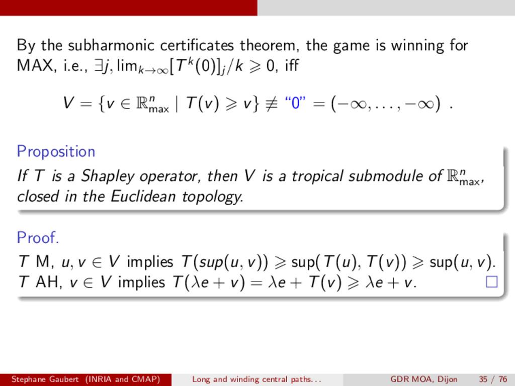 By the subharmonic certificates theorem, the gam...