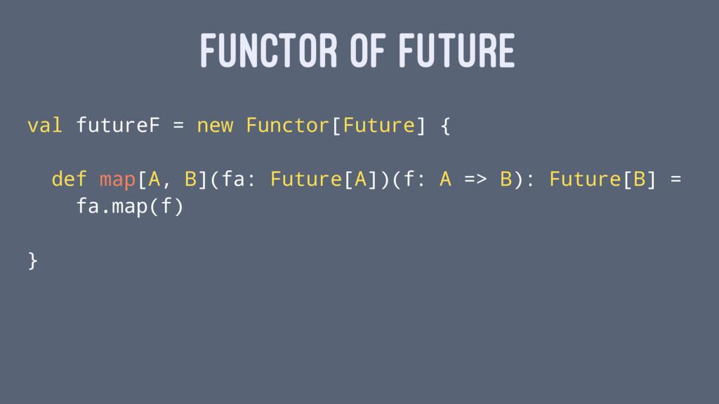 FUNCTOR OF FUTURE val futureF = new Functor[Fut...
