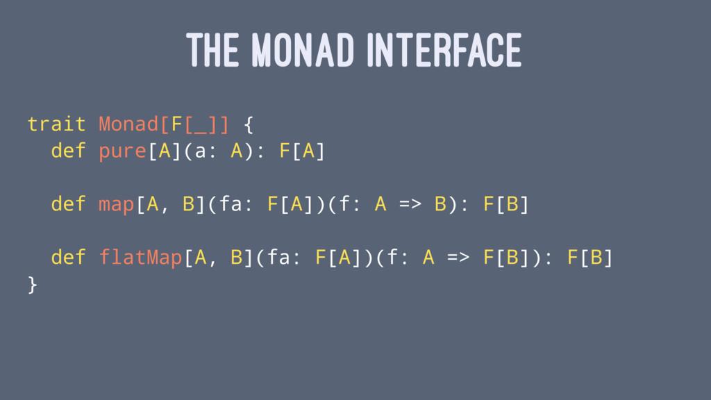THE MONAD INTERFACE trait Monad[F[_]] { def pur...