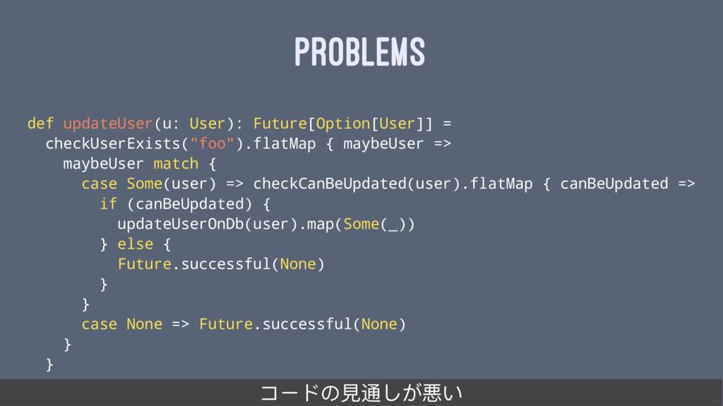 PROBLEMS def updateUser(u: User): Future[Option...