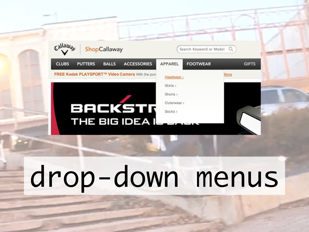 drop-down menus