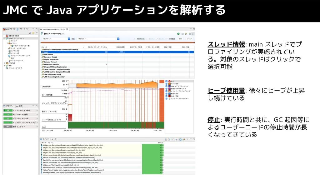 JMC で Java アプリケーションを解析する スレッド情報: main スレッドでプ ロフ...