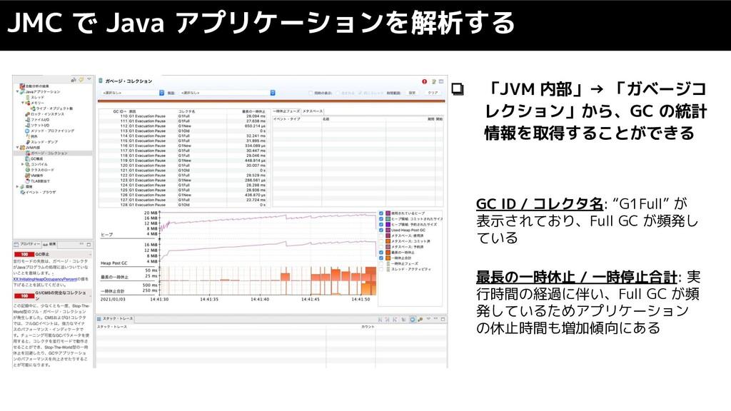 JMC で Java アプリケーションを解析する ❏ 「JVM 内部」→ 「ガベージコ レクシ...