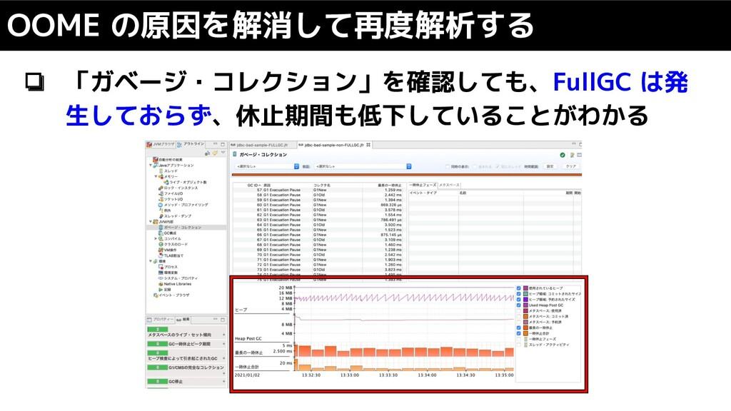 ❏ 「ガベージ・コレクション」を確認しても、FullGC は発 生しておらず、休止期間も低下し...
