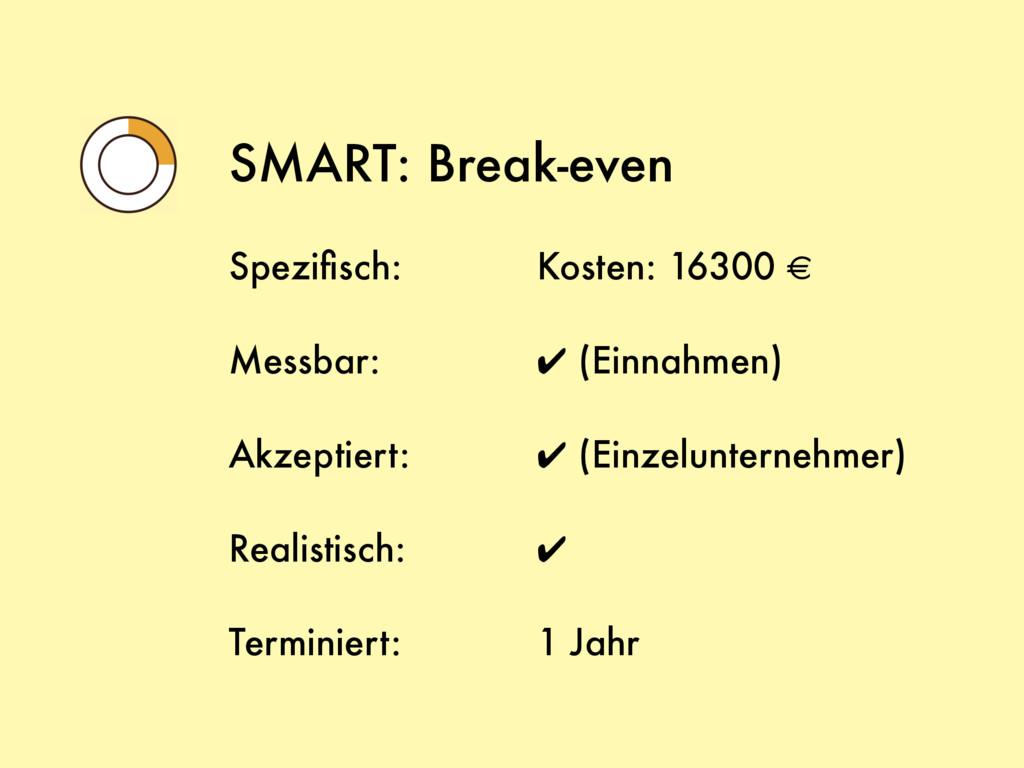 SMART: Break-even Spezifisch: Messbar: Akzeptier...