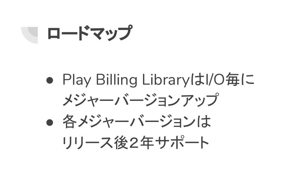 ロードマップ ● Play Billing LibraryはI/O毎に メジャーバージョンアッ...