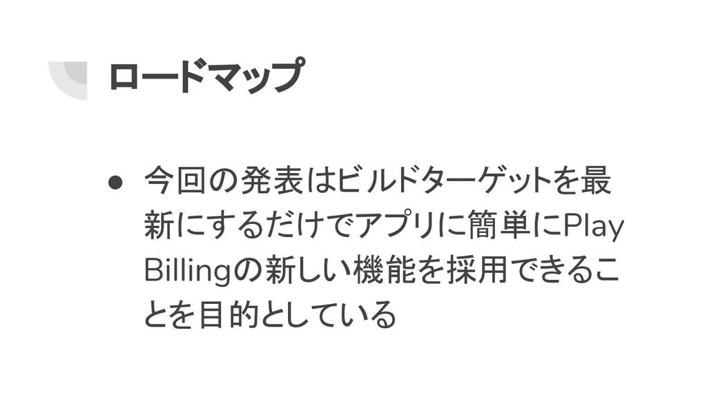 ロードマップ ● 今回の発表はビルドターゲットを最 新にするだけでアプリに簡単にPlay Bi...