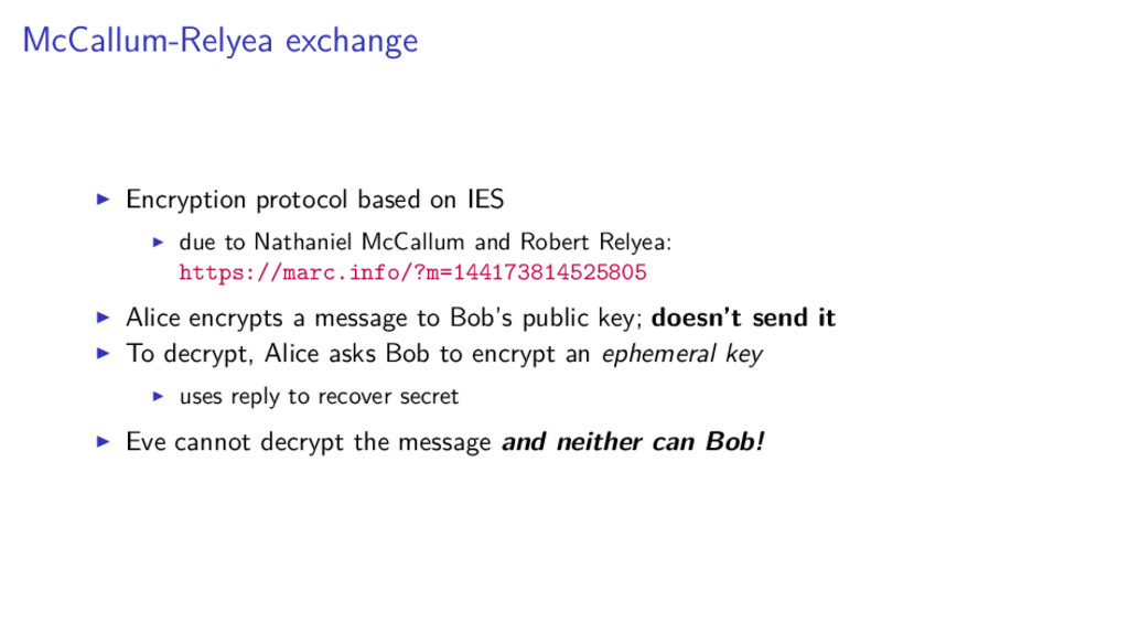 McCallum-Relyea exchange Encryption protocol ba...