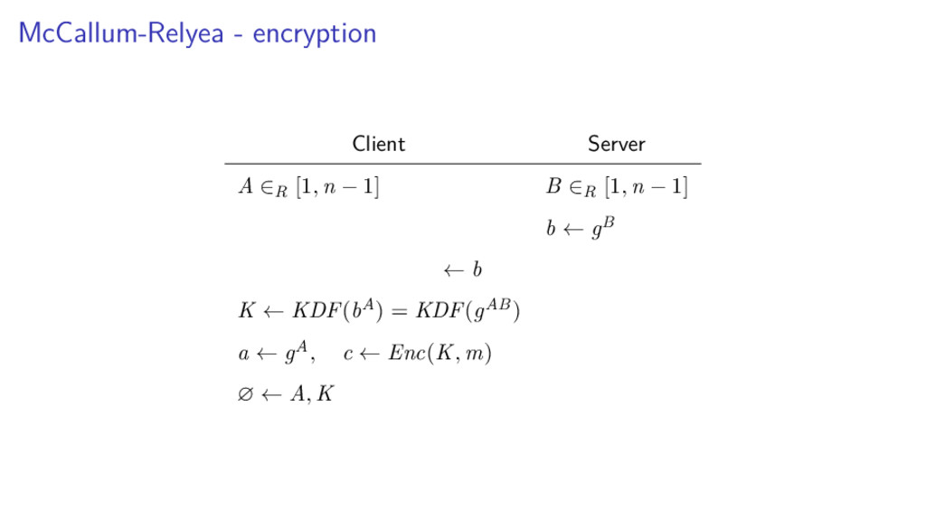 McCallum-Relyea - encryption Client Server A ∈R...