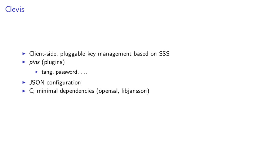 Clevis Client-side, pluggable key management ba...