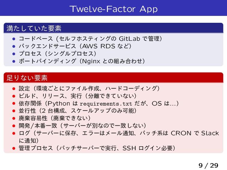 Twelve-Factor App ຬ͍ͨͯͨ͠ཁૉ Ĺ ίʔυϕʔε (ηϧϑϗεςΟϯάͷ...
