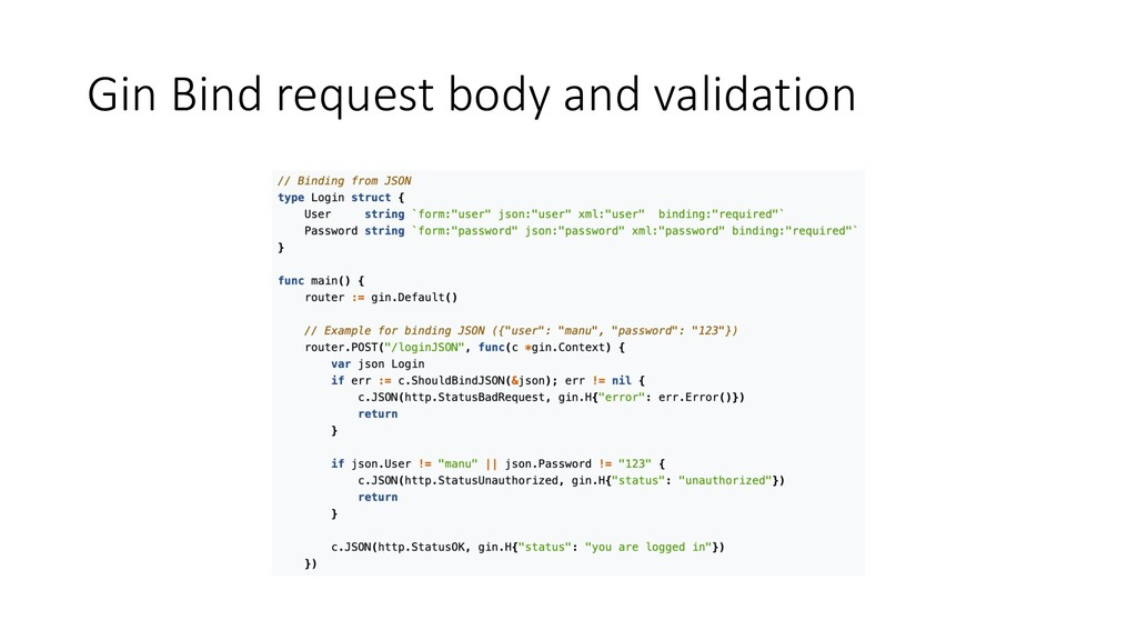 Gin Bind request body and validation
