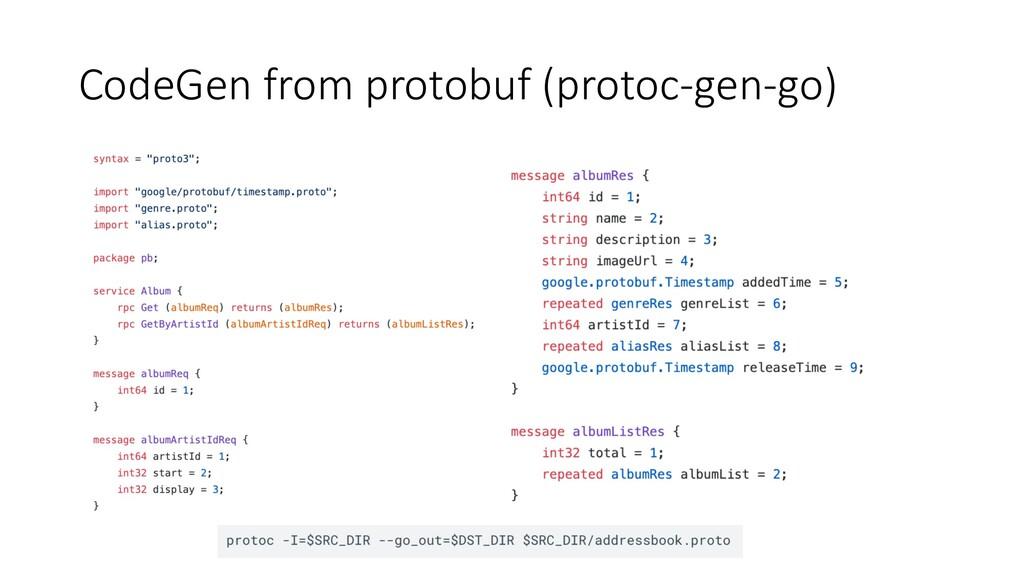 CodeGen from protobuf (protoc-gen-go)