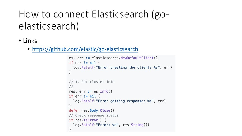 How to connect Elasticsearch (go- elasticsearch...