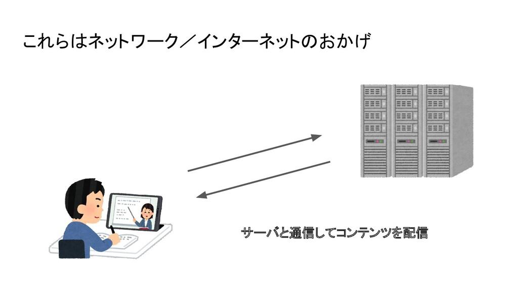 これらはネットワーク/インターネットのおかげ サーバと通信してコンテンツを配信