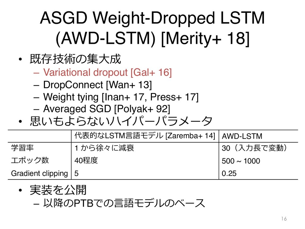 ASGD Weight-Dropped LSTM (AWD-LSTM) [Merity+ 18...