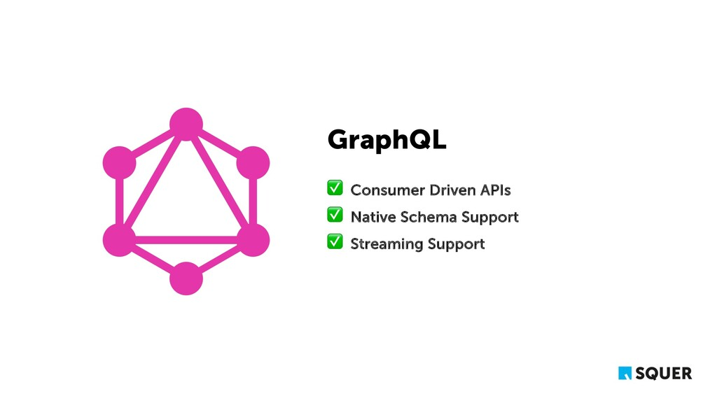 GraphQL ✅ Consumer Driven APIs ✅ Native Schema ...