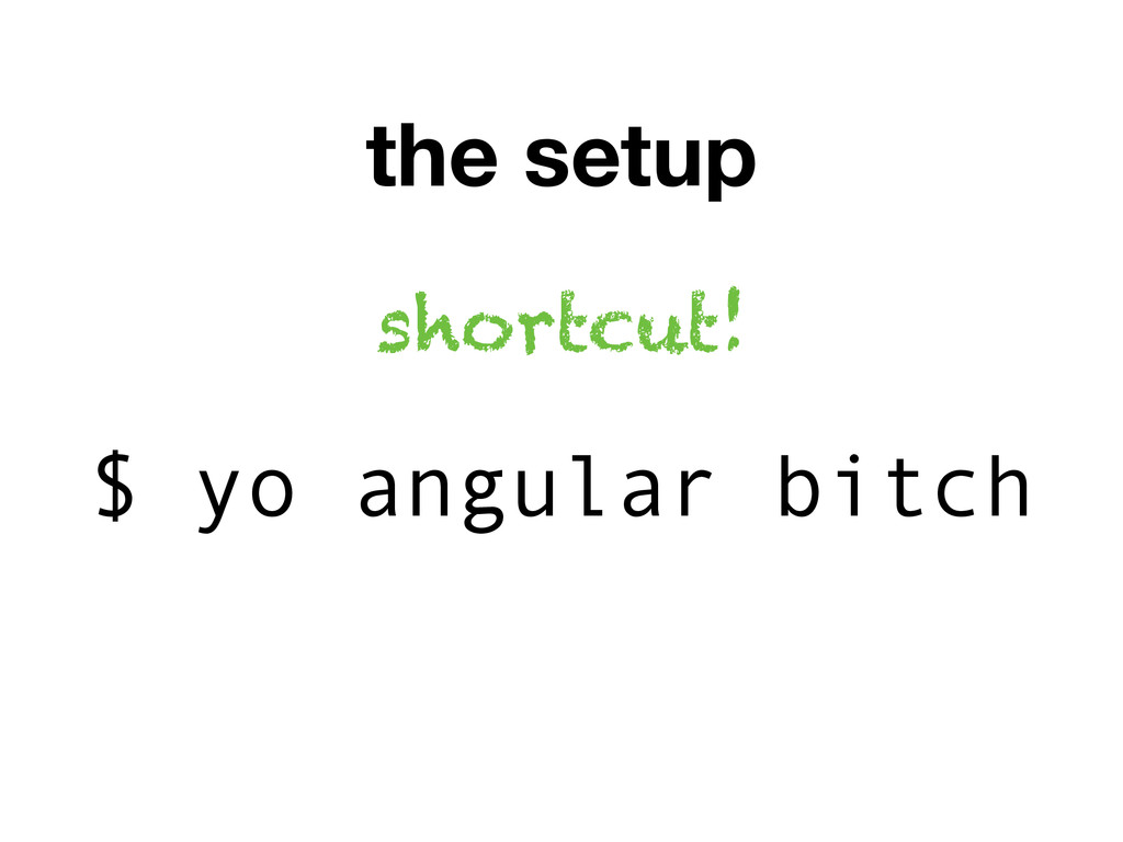 the setup $ yo angular bitch shortcut!