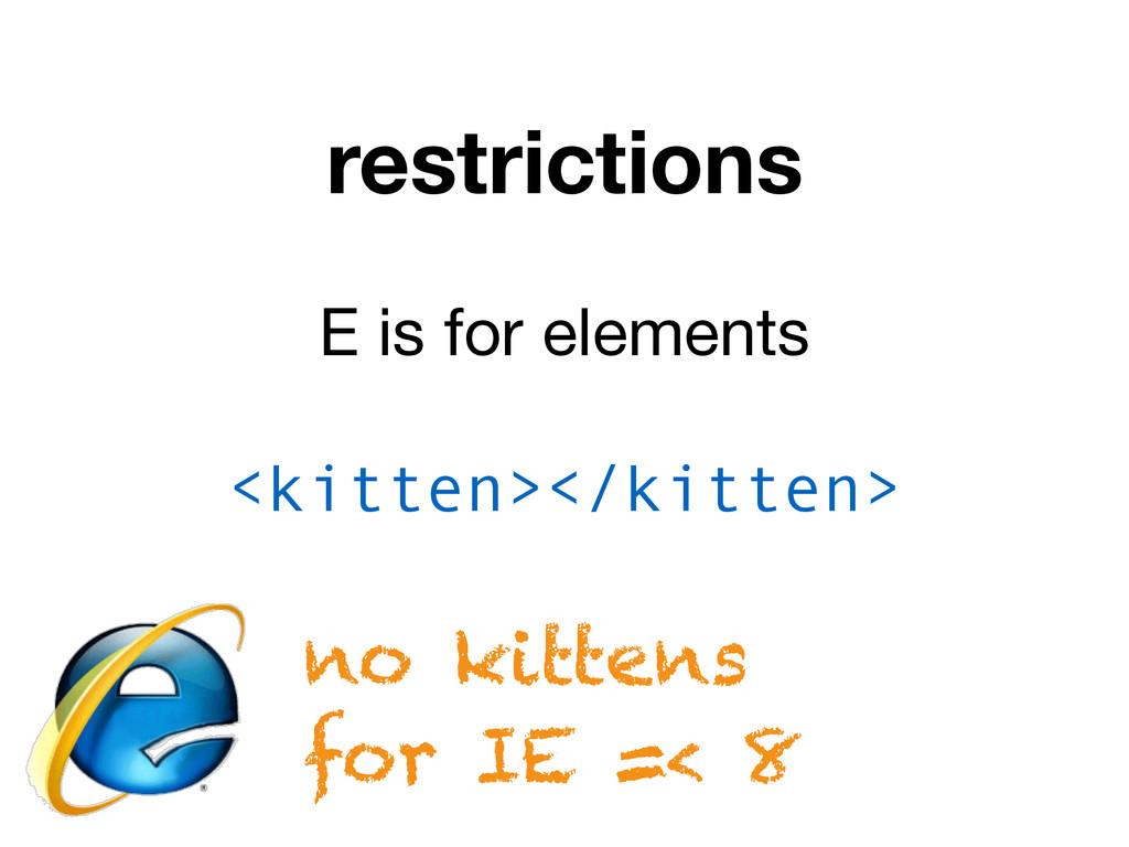 restrictions E is for elements <kitten></kitten...