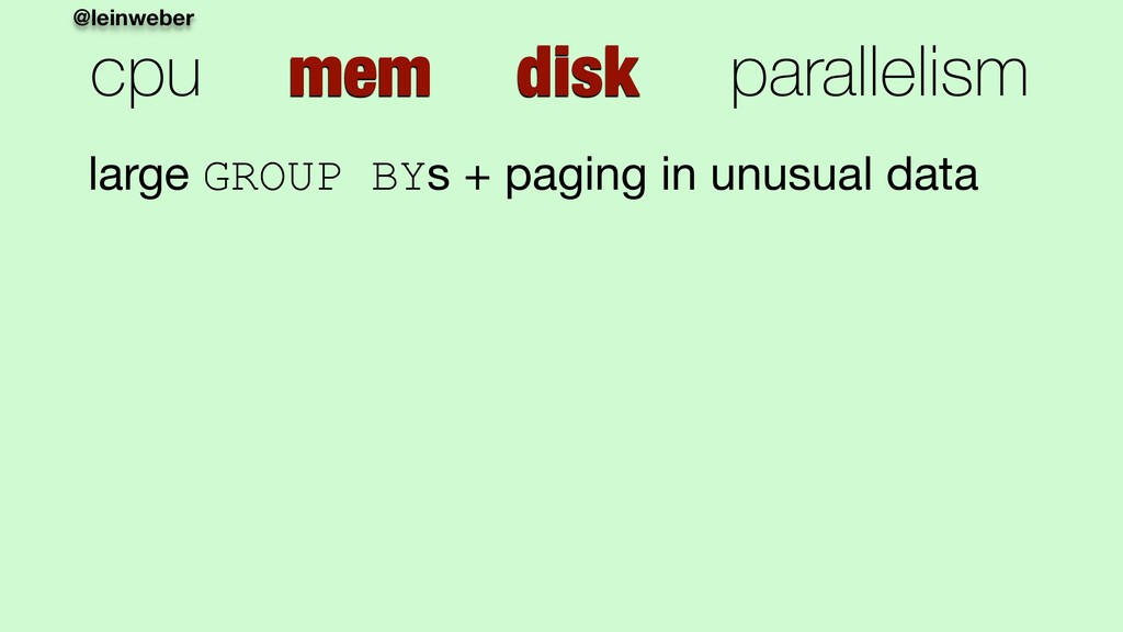@leinweber cpu mem disk parallelism large GROUP...