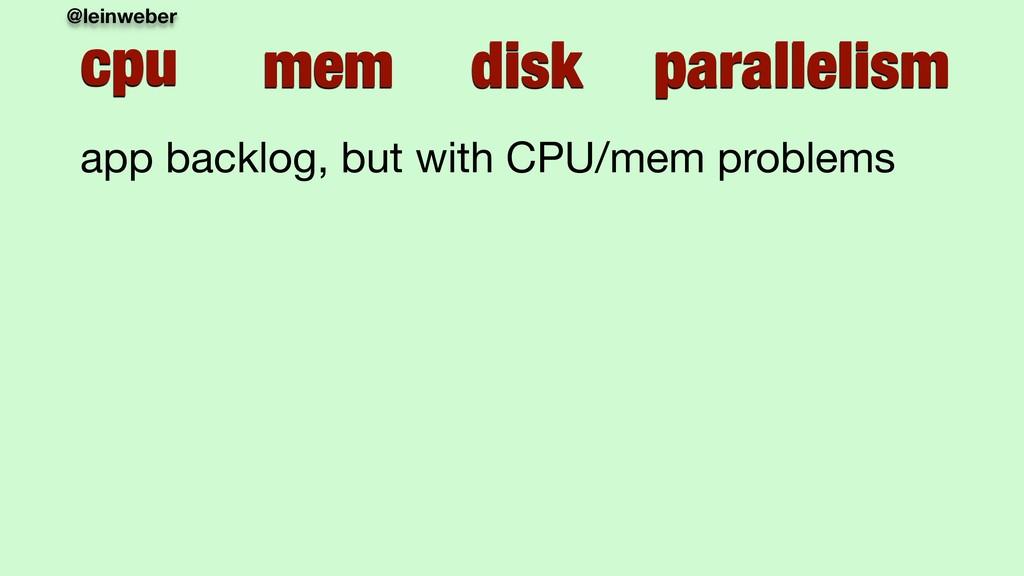 @leinweber cpu mem disk parallelism app backlog...