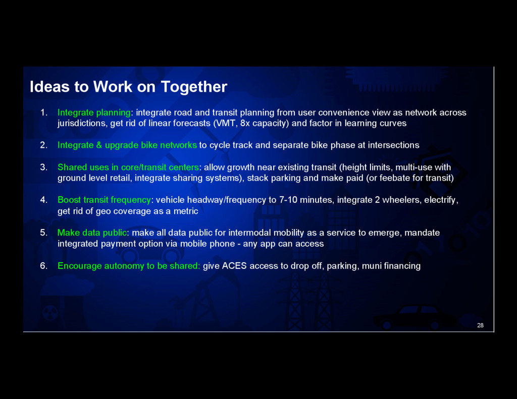 28 Ideas to Work on Together 1. Integrate plan...