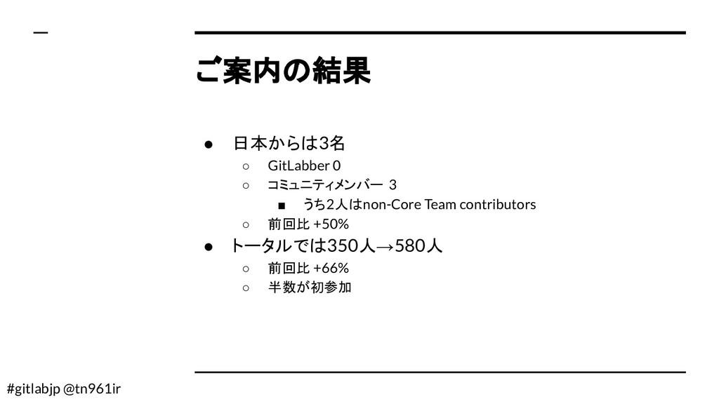 #gitlabjp @tn961ir ご案内の結果 ● 日本からは3名 ○ GitLabber...