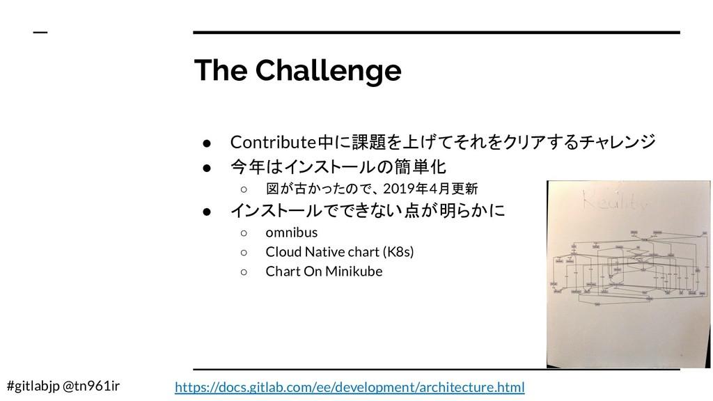 #gitlabjp @tn961ir The Challenge ● Contribute中に...